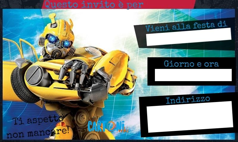 Bumblebee invito compleanno - Cartoni animati
