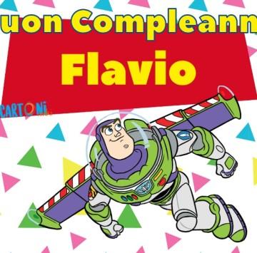 Buon compleanno Flavio con Buzz Lightyear - Cartoni animati
