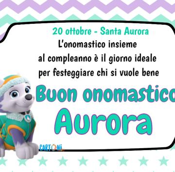 Aurora Buon onomastico con Everest - Cartoni animati