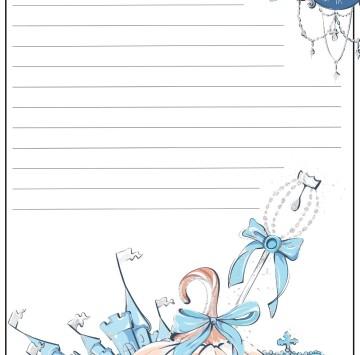 Carta da lettere per bambini Cenerentola - Cartoni animati