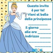 Biglietti invito Cenerentola - inviti compleanno online