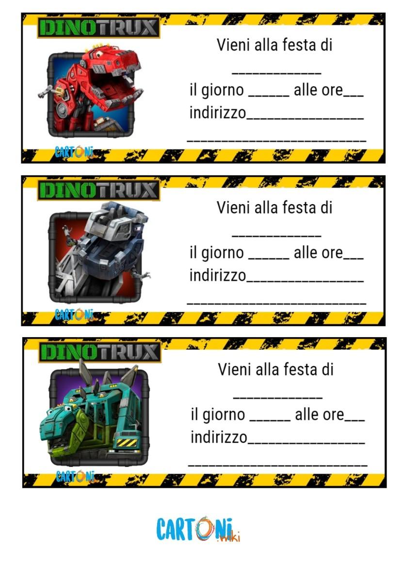 Inviti feste compleanno Dinotrux - Cartoni animati