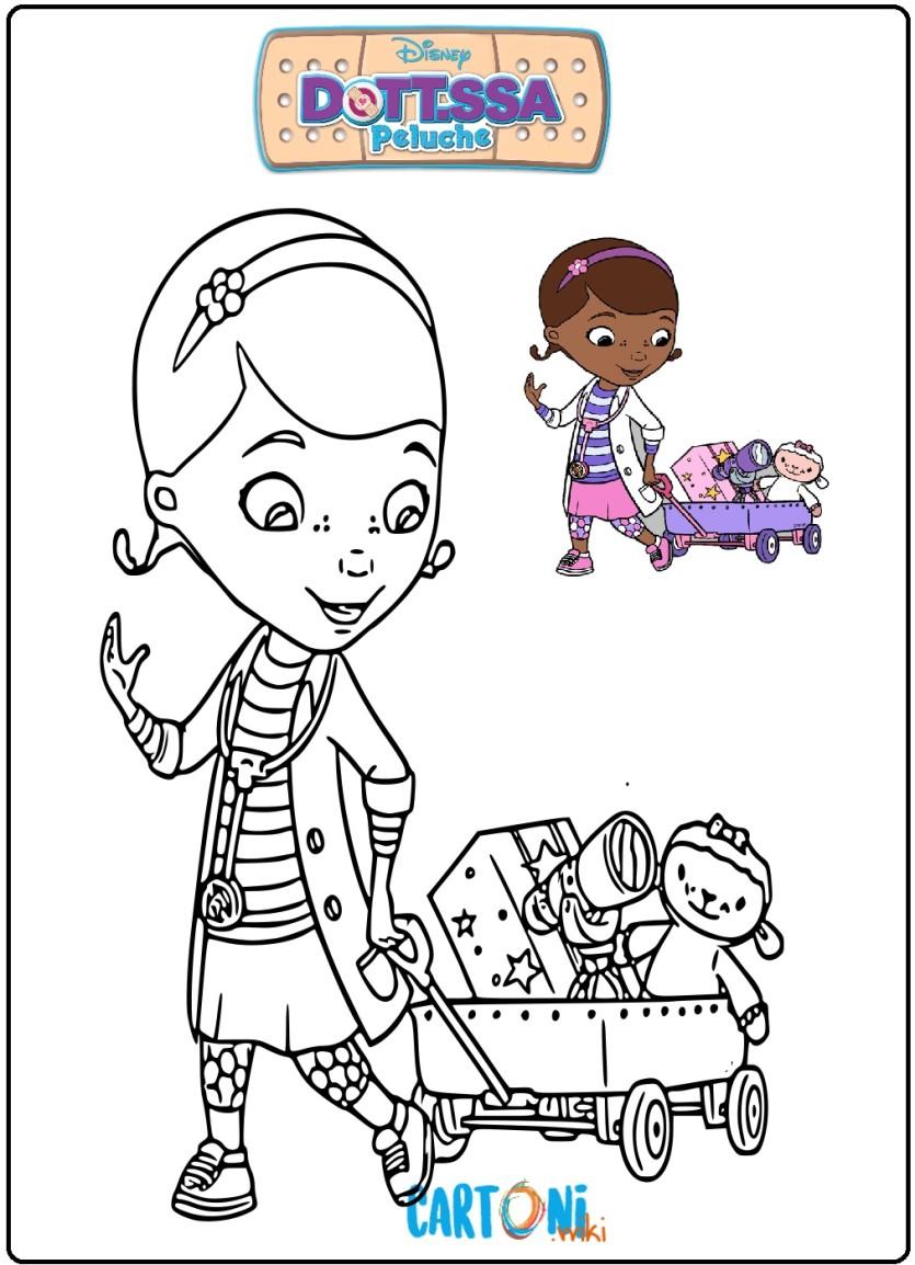 Colora la clinica viaggiante della Dottoressa Peluche - Cartoni animati