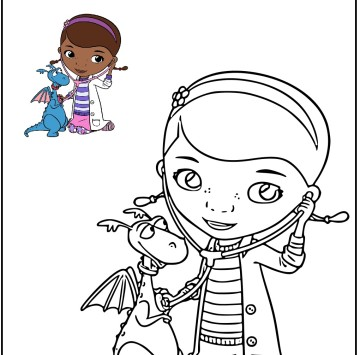 Colora Dottie e Draghetto di Dottoressa Peluche - Cartoni animati