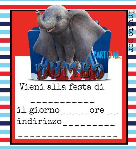 Invito festa compleanno Dumbo 2019 - Cartoni animati