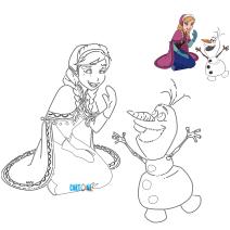 Colora Anna e Olaf - Disegni da colorare