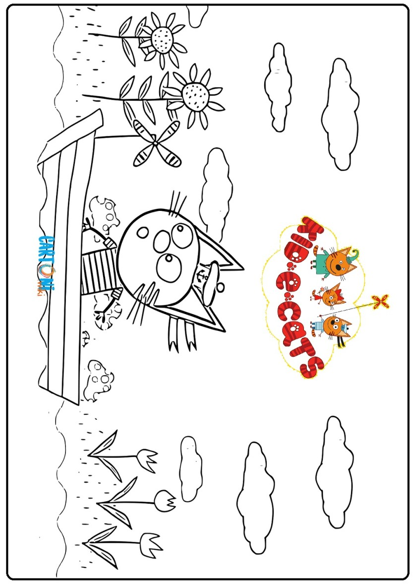 Kid e cats da stampare colorare cartoni animati