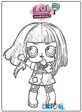 Metal Babe Lol Surprise hair goals coloring page