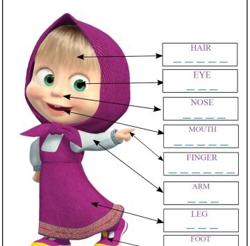 Bosy Parts - Esercizi inglese classe 1 con Masha - Cartoni animati