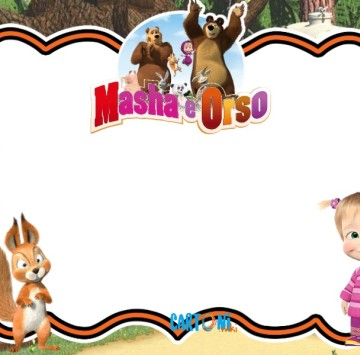 Invito compleanno con Masha e Orso - Cartoni animati