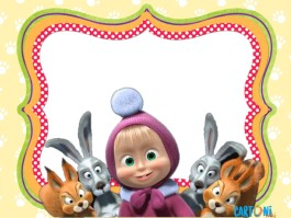 Masha and the bear party invitation