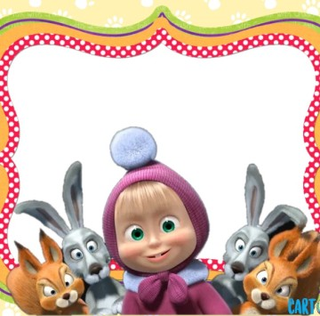 Masha and the bear party invitation - Cartoni animati