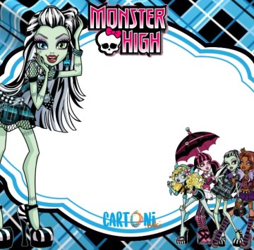 Monster High party invitation Frankie Stein - Cartoni animati