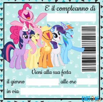 My Little Pony Inviti feste compleanno - Cartoni animati