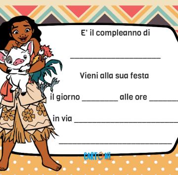 Oceania inviti feste compleanno - Cartoni animati