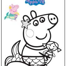 Peppa Pig Sirenetta da colorare - Stampa e colora