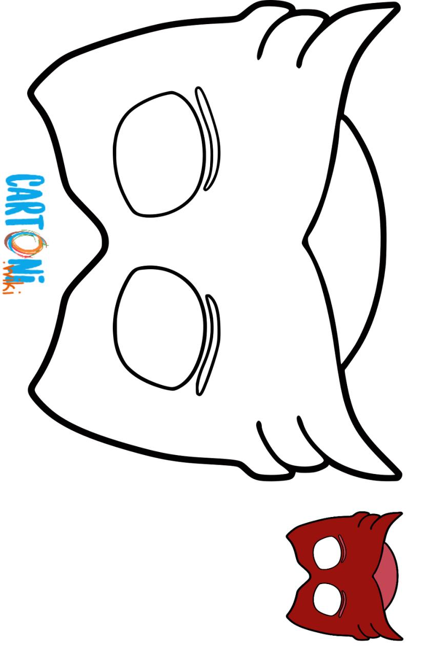 Maschera gufetta da colorare cartoni animati for Pjmask da colorare