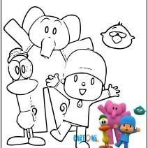 Colora Pocoyo Elly e Pato - Disegni da colorare