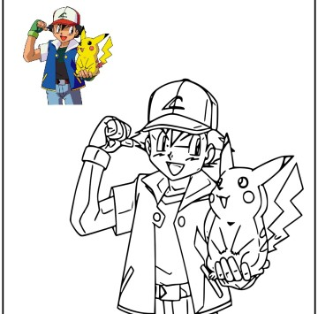 Pokemon disegno da colorare con Pikachu - Cartoni animati