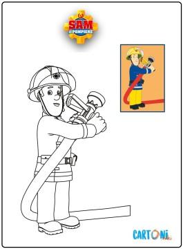 Stampa e colora Sam il pompiere
