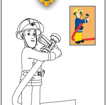 Stampa e colora Sam il pompiere - Cartoni animati