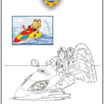 Colora Sam il pompiere su Juno la moto da acqua - Stampa e colora