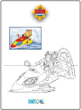Colora Sam il pompiere su Juno la moto da acqua