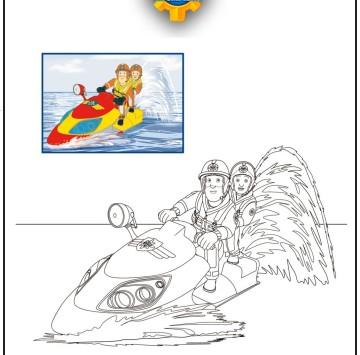 Colora Sam il pompiere su Juno la moto da acqua - Cartoni animati