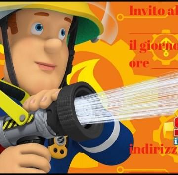 Inviti festa di compleanno Sam il pompiere - Cartoni animati