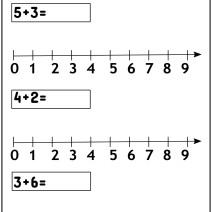 Addizioni sulla linea dei numeri fino al 9 - Esercizi Scuola Primaria