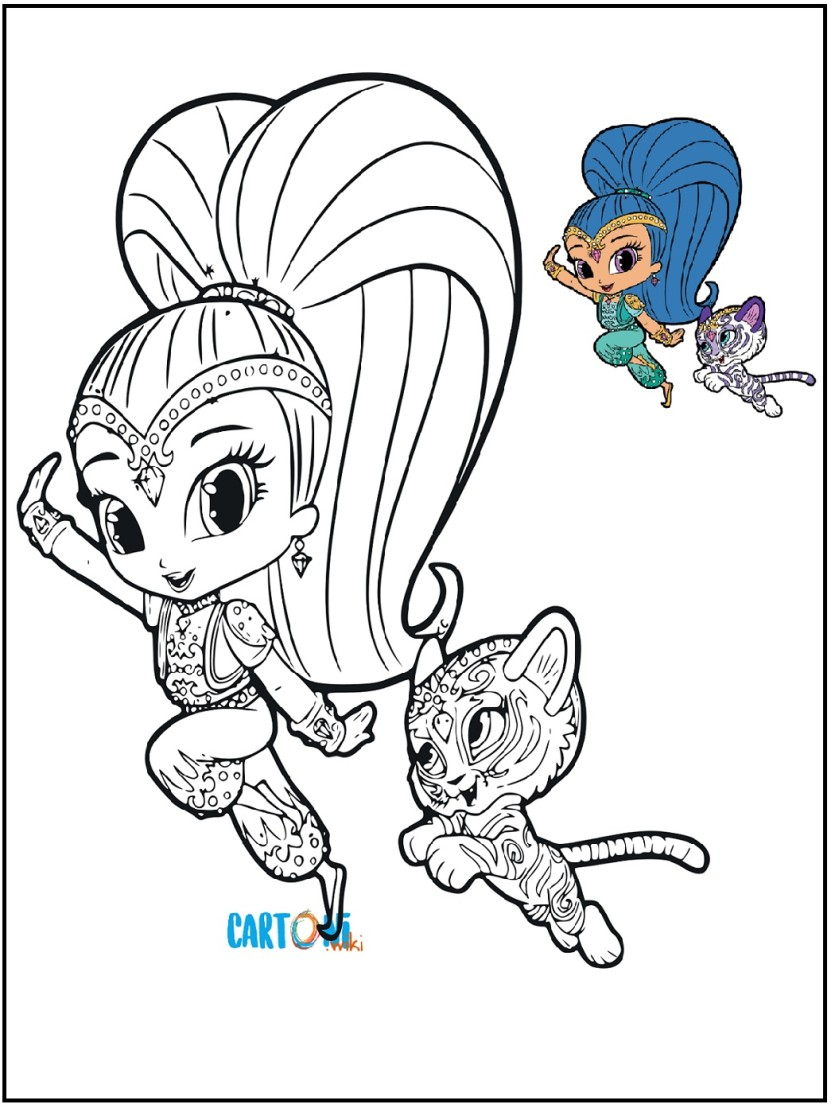 Shimmer e shine disegno da colorare cartoni animati for Shimmer and shine da colorare
