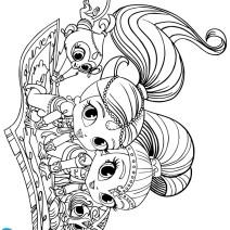 Geniette sul tappeto volante da stampare - Disegni da colorare