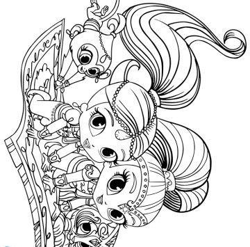Geniette sul tappeto volante da stampare - Cartoni animati
