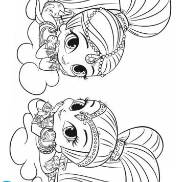 Shimmer e Shine stampa e colora - Cartoni animati