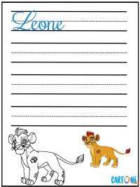 Scrivi leone in corsivo e colora Kion - Prima Elementare Corsivo