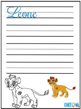 Scrivi leone in corsivo e colora Kion