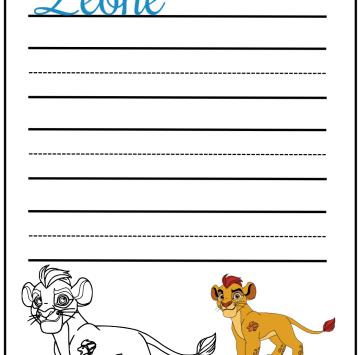 Scrivi leone in corsivo e colora Kion - Cartoni animati