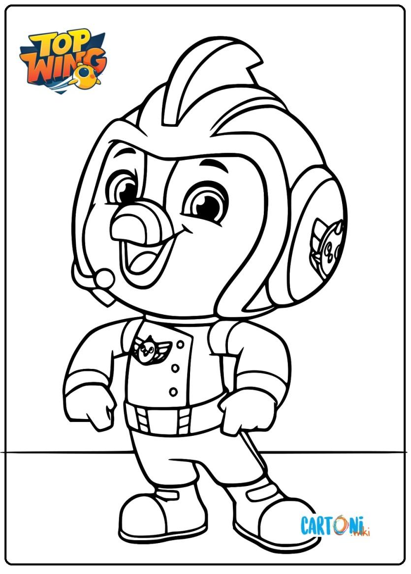 Colora Brody di Top Wing - Cartoni animati