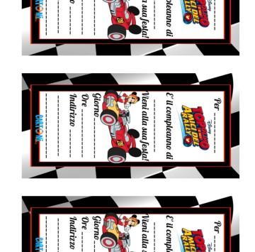 Invito Topolino e gli amici del rally da stampare - Cartoni animati