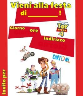 Invito compleanno da stampare con Toy Story 4