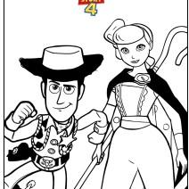 Disegno toy Story 4 con Woody e Bo Peep - Stampa e colora