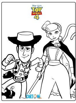 Disegno toy Story 4 con Woody e Bo Peep