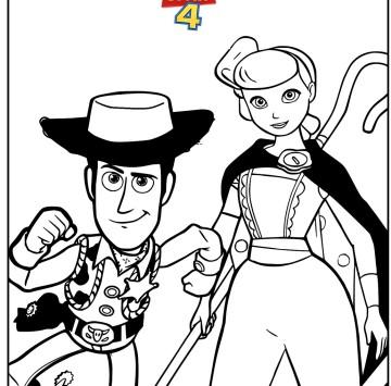 Disegno toy Story 4 con Woody e Bo Peep - Cartoni animati